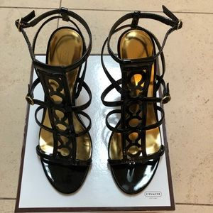 Coach black stiletto sandals